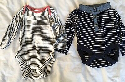 2 Baby Boys Long Sleeved Vests 6/9months