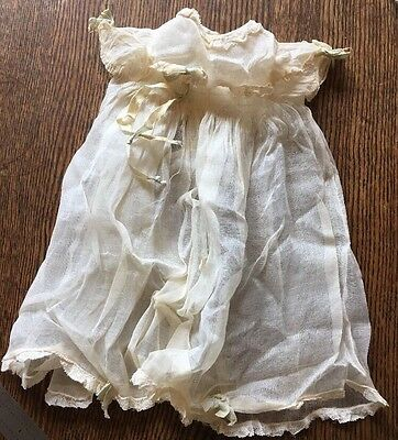 VINTAGE PALE ECRU ORGANDY DRESS with LACE & RIBBONS
