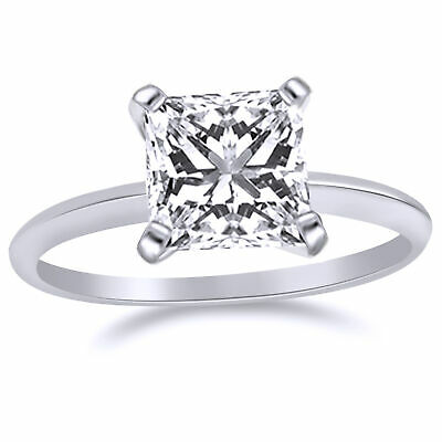 3.00 Ct Square Princess Cut Solitaire Engagement Ring. Solid 14K White Gold