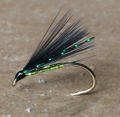 3 Competition Special Cormorant Trout Flies. Green Holo