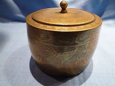 Heavy Vintage Indian Brass Tea Caddy or Pot/Canister