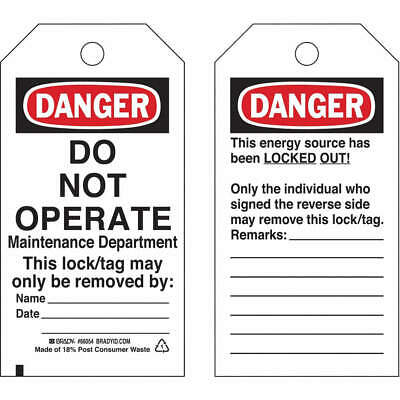 BRADY Polyester Danger Tag,5-1/2 x 3 In,Hd Polyest,PK25, 65521