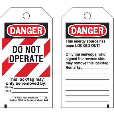BRADY Polyester Danger Tag,5-1/2 x 3 In,Hd Polyest,PK25, 65525