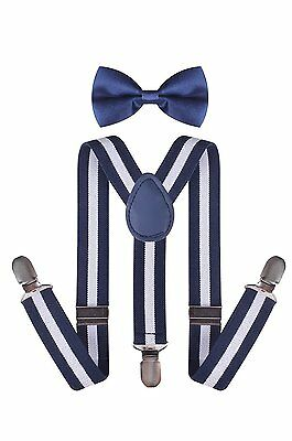 Kids Ties and Suspenders Adjustable Y-Back Baby Bow Tie and Braces for Uniform