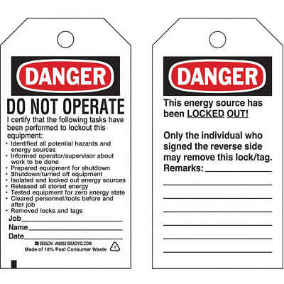 BRADY Polyester Danger Tag,5-1/2 x 3 In,Hd Polyest,PK25, 65524