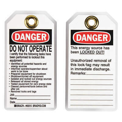 BRADY Polyester Danger Tag,5-1/2 x 3 In,Hd Polyest,PK25, 65515