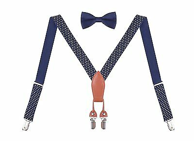 Kids Suspenders and Bow Ties for Boys 7 Months to 3 Years Navy Polka Dot