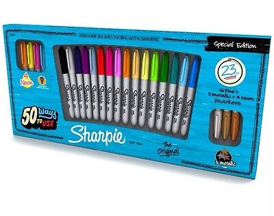 Permanent Marker Extra Fine Point Pack of 23 Assorted Neon Metallic Sharpie