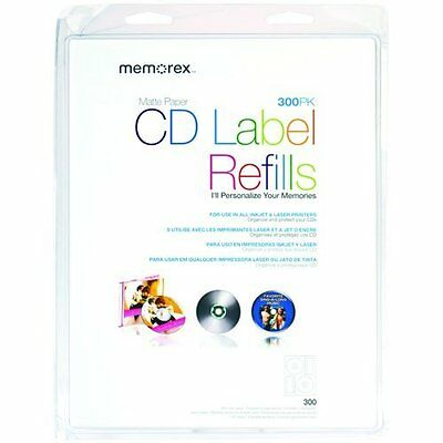 300 Count Premium-quality Organize and personalize White CD Labels Matte Finish
