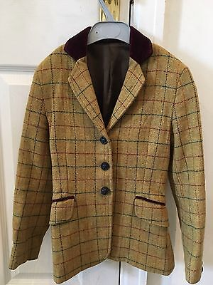 "childs tweed pretty ponies jacket.  approx 26"" mustard tweed velvet trim"