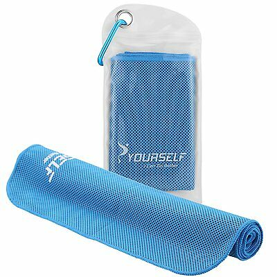 Instant Cooling Towel Sports Fitness Golf Yoga Sweat Scarf 100x30cm Light Blue