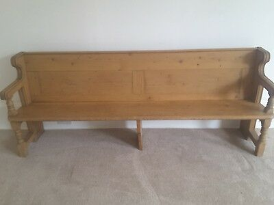 Large antique pine church pew, bench. Vintage, just over 7 ft long.