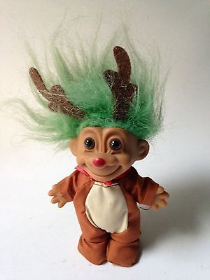 "Vintage Russ Troll Doll Reindeer Green Hair 5"" Collectible Christmas"