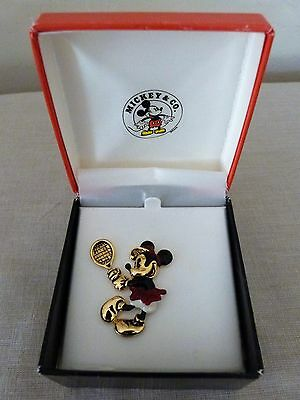 Vintage Minnie Mouse Tennis Brooch Pin Napier Goldtone Red White & Black W/box