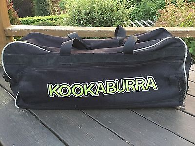 KOOKABURRA Wheelie Cricket Bag External Bat Pocket Pull Handle Wheels Black Lime