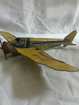 Rare 1930s Mettoy Super Skyliner Fokker tin plate airplane