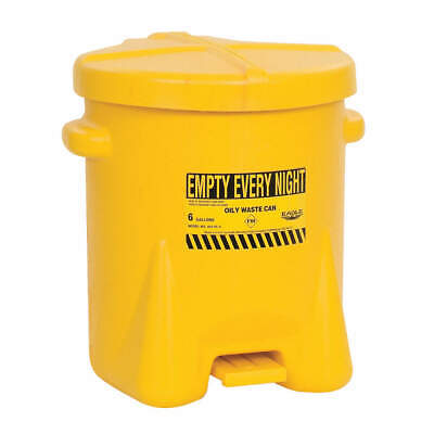 EAGLE Oily Waste Can,6 Gal.,Poly,Yellow, 933FLY