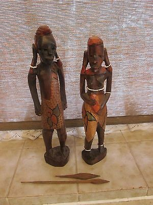 Pair of Carved Wood African Figures Masai Male & Female
