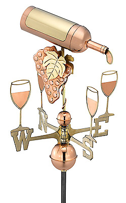 Good Directions Wine Bottle Weathervane, Pure Copper
