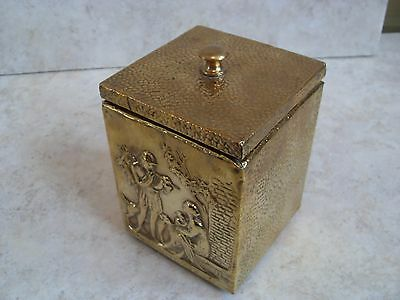 Vintage Peerage Square Brass Lined Tea Caddy Embossed Hunting Scene Picture