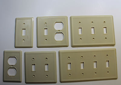 H.B Etlin Finely Ribbed Vintage Bakelite Electrical Covers in Ivory