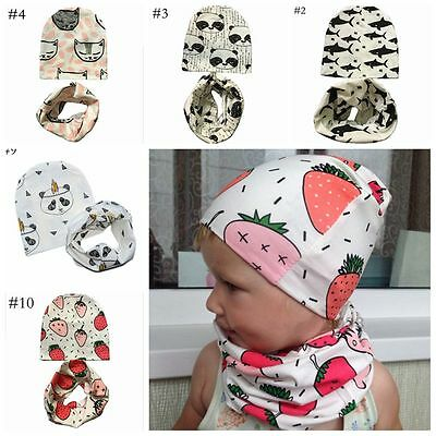 2Pcs Toddler Cotton Warm Neckerchief Beanie Cap Neck Scarf Baby Hat