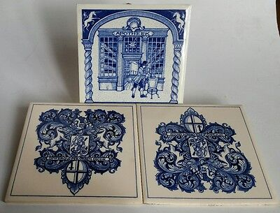 3 Vintage Delft Blue and White Tiles - Holland