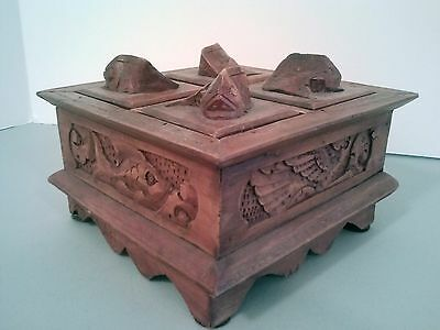 Vintage Asian Hand-Carved Wooden Tea Box with Fish Motif