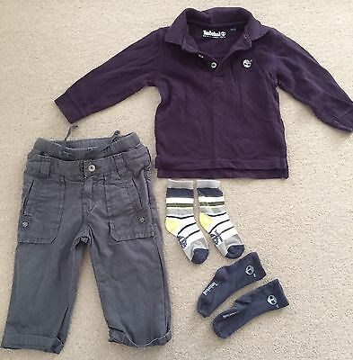 Timberland Baby Boys Outfit Polo Top, Trousers & Socks 12 Months