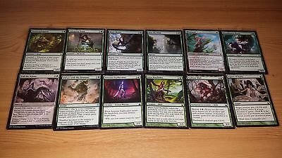 (4) 100 Green Magic The Gathering Cards. ALL DIFFERENT New Sleeves. PICTURES ALL