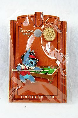 Disney DLR Pin LE Twilight Zone Tower of Terror Stitch Rack'em Up Pool Table