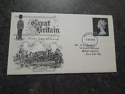 GB FDC £1 Black Definitive Redrawn Value Stamp. 6 Dec 1972. Cancelled London.