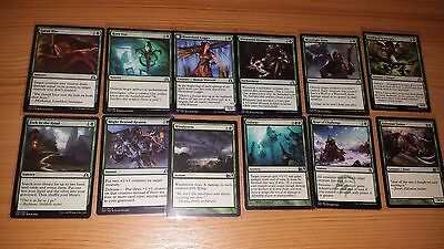 (1) 100 Green Magic The Gathering Cards. ALL DIFFERENT New Sleeves. PICTURES ALL