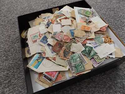 BOX OF STAMPS MOSTLY OFF PAPER 1000's VERY GOOD LOT UNSORTED NOT YOUR USUAL LOT