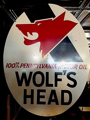Original 1970 Wolf's Head Oil Gasoline Flange Sign 100% Original