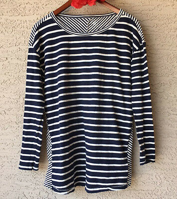Gap Maternity Medium Striped Top Navy Blue White Cotton Long Sleeved Shirt