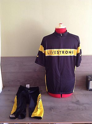 Rare Lance Armstrong Nike Livestrong Cycling Clothing Jersey Top & Padded Shorts