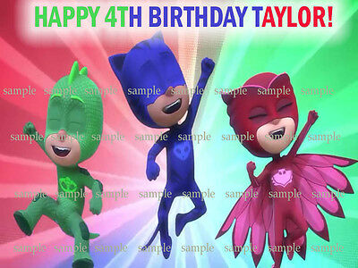 PJ Masks Edible Photo ICING Image Birthday CAKE Topper Decoration FREE SHIPPING