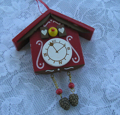 Vintage Hand Painted Wooden Cuckoo Clock Ornament