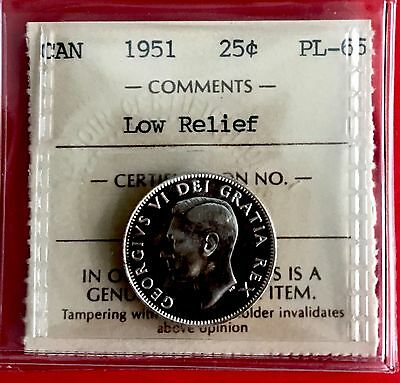 1951 Low Relief Canada 25 Cent Silver Coin ICCS PL 65 -Old Holder!- Proof Like
