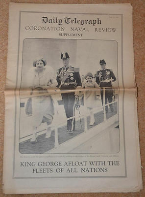 Antique British NEWSPAPER Daily Telegraph KING GEORGE VI Naval Review 1937