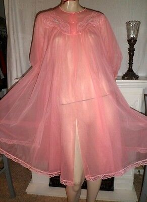 Vintage 60's Pink Shadowline Chiffon Peignoir Robe Housecoat Sheer Babydoll - S