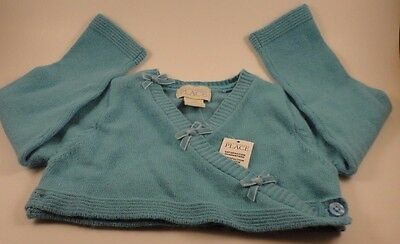 The Children's Place Baby Kids Girls Crop Sweater Cardigan Teal Size 12 Mth NWT