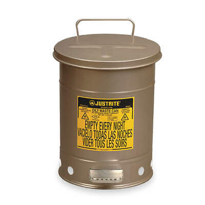 JUSTRITE Oily Waste Can,6 Gal.,Steel,Silver, 09104