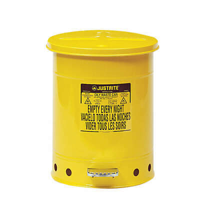JUSTRITE Oily Waste Can,10 Gal.,Steel,Yellow, 09301