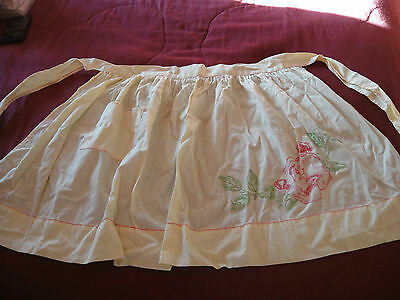 Vintage Half Apron Kitchen Pocket Solid Yellow Hand Embroidered Red Pink Rose