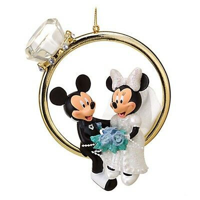 New Disney Store Minnie & Mickey Mouse Wedding Ring Bride & Groom Ornament