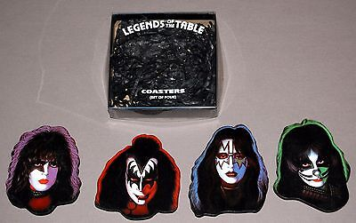KISS Legends Of The Table 4pc Set 1978 Solo Albums Coasters 1997 UNUSED Gene Ace