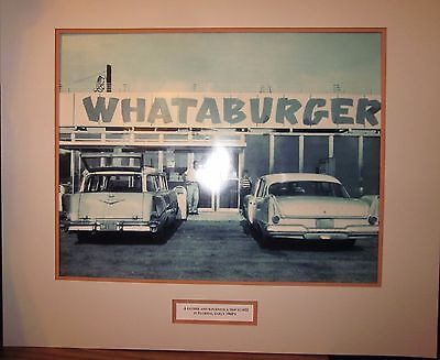 "Vintage 30""x 26"" Whataburger Matted Photo ""father And Son Enjoy A Trip To #22""!"