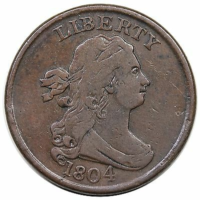 1804 Draped Bust Half Cent, Crosslet 4, Stems, C-1, R.3, VF detail